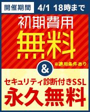 初期費用無料&セキュリティ診断付きSSL永久無料キャンペーン